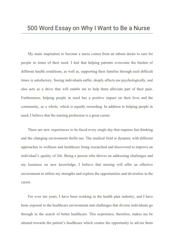 500 Word Essay on Why I Want to Be a Nurse? (PDF)