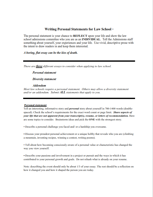 Personal Statement for Law